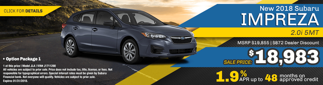 2018 Impreza 2.0i 5MT Sales or Finance Specials at Carlsen Subaru serving San Francisco, CA