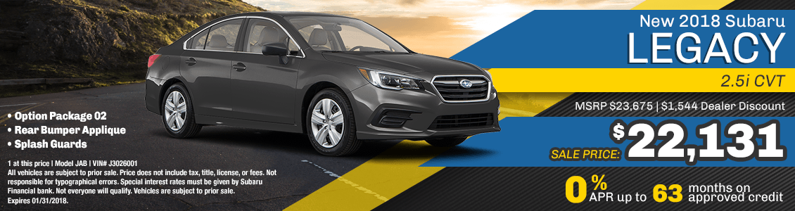 2018 Legacy 2.5i CVT Finance or Sales Special at Carlsen Subaru serving San Francisco, CA