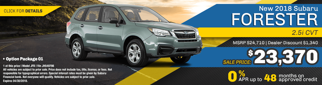 Lease a 2018 Forester 2.5i CVT for a low monthly payment serving San Francisco, CA