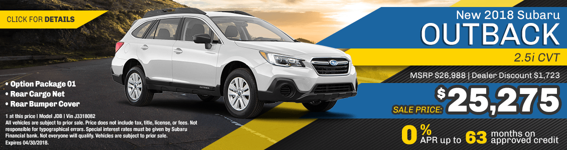 2018 Outback 2.5i CVT low monthly payment lease special serving San Francisco, CA