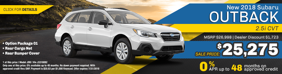 2018 Subaru Outback 2.5I CVT Purchase or Financing Special serving San Francisco, CA