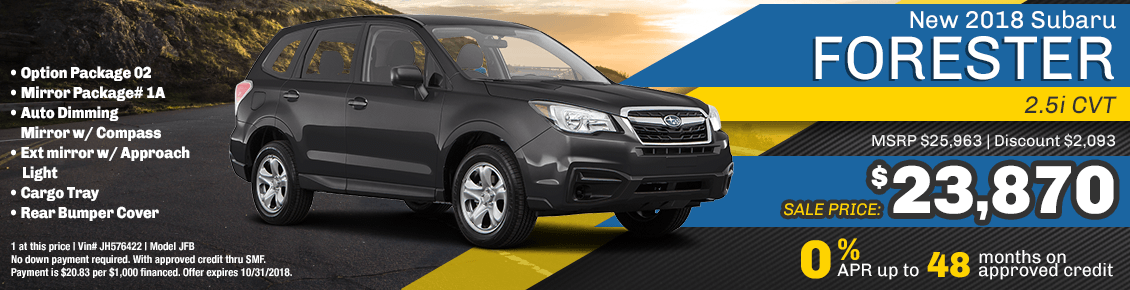 New 2018 Subaru Forester 2.5i CVT Purchase or Financing Special serving San Francisco, CA