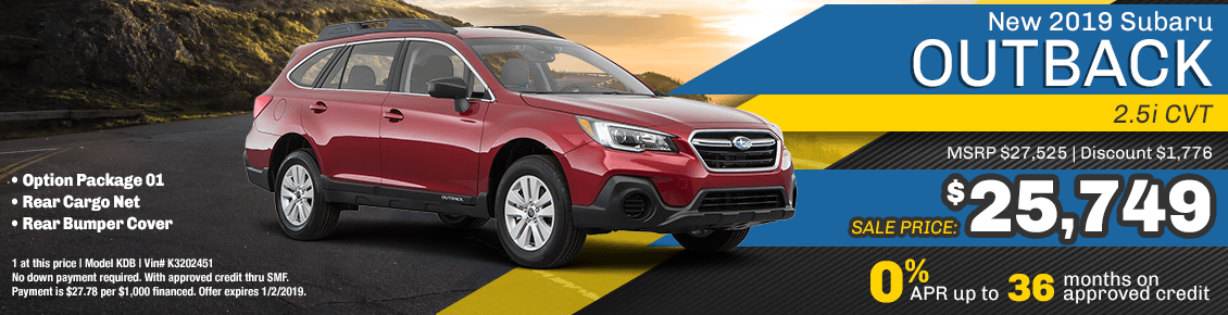 New 2019 Subaru Outback 2.5i CVT special purchase savings at Carlsen Subaru serving San Francisco, CA
