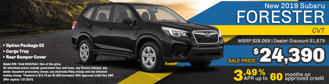 New 2019 Subaru Forester CVT special purchase & finance savings at Carlsen Subaru serving San Francisco, CA