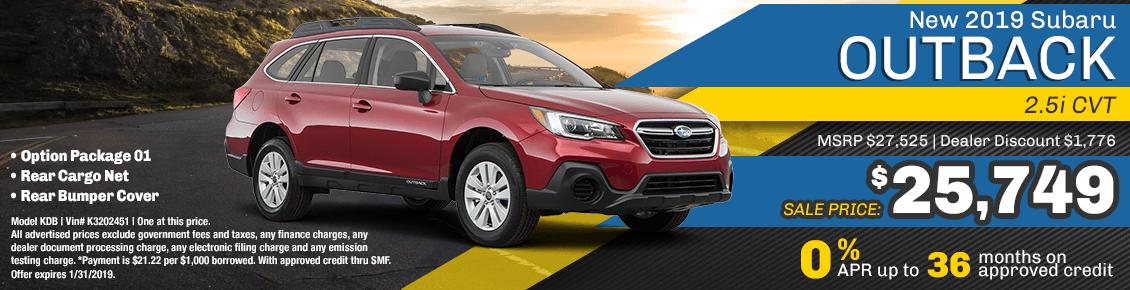 New 2019 Subaru Outback 2.5i CVT special purchase & finance savings at Carlsen Subaru serving San Francisco, CA