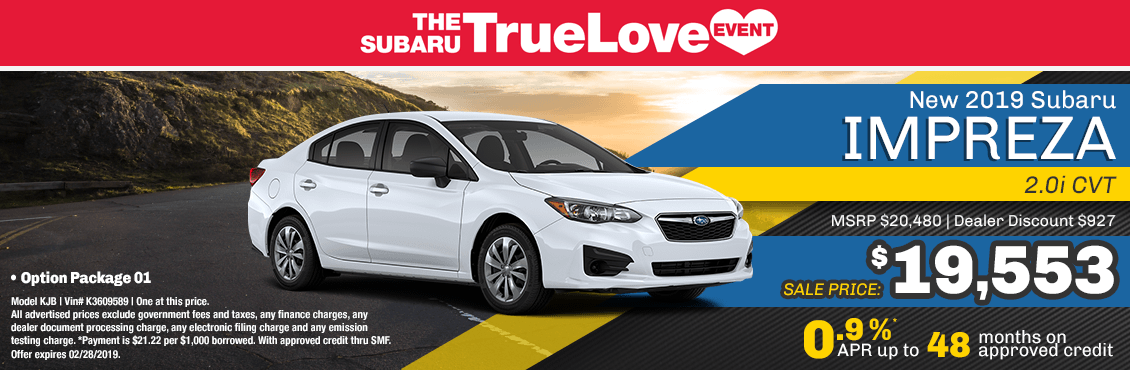 New 2019 Subaru Impreza 2.0i CVT special purchase & finance savings at Carlsen Subaru serving San Francisco, CA
