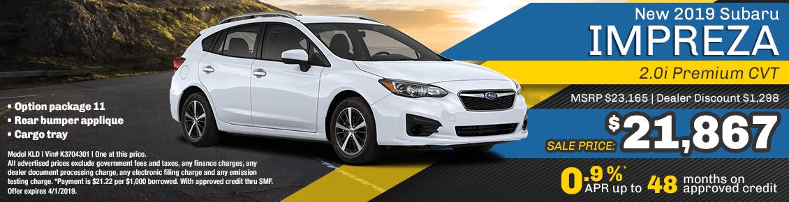 New 2019 Subaru Impreza 2.0i Premium CVT special purchase & finance savings at Carlsen Subaru serving San Francisco, CA