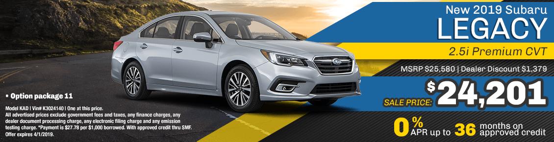 New 2019 Subaru Legacy 2.5i Premium CVT special purchase & finance savings at Carlsen Subaru serving San Francisco, CA