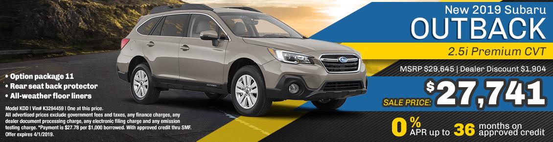 New 2019 Subaru Outback 2.5i Premium CVT special purchase & finance savings at Carlsen Subaru serving San Francisco, CA