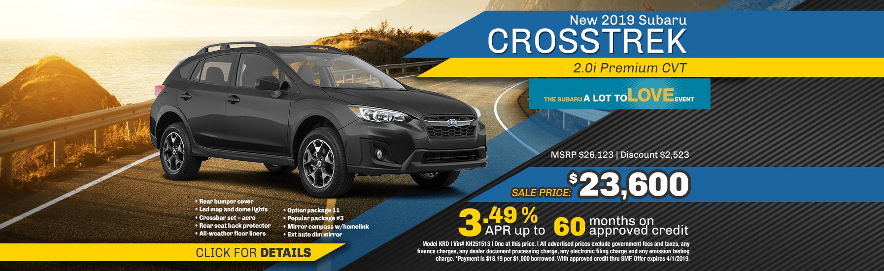 New 2019 Subaru Crosstrek 2.0i Premium CVT special purchase & finance savings at Carlsen Subaru serving San Francisco, CA