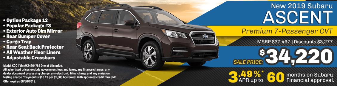 2019 Ascent Premium-7 Pass CVT sales or finance special at Carlsen Subaru serving San Francisco, CA