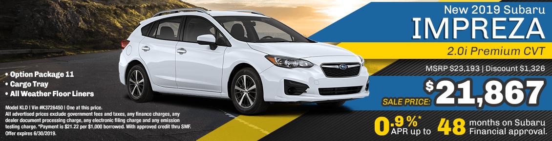 2019 Subaru Impreza 2.0i Premium CVT 5-Door special purchase and financing savings at Carlsen Subaru serving San Francisco, CA