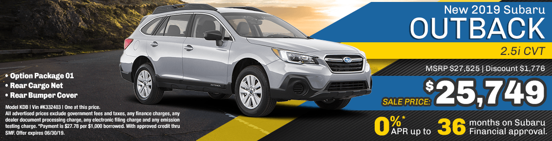 2019 Subaru Outback 2.5i CVT low APR or sales special at Carlsen Subaru serving San Francisco, CA
