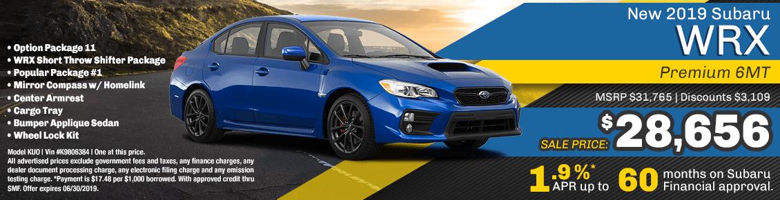 2019 WRX Premium 6MT special purchase and financing savings at Carlsen Subaru serving San Francisco, CA