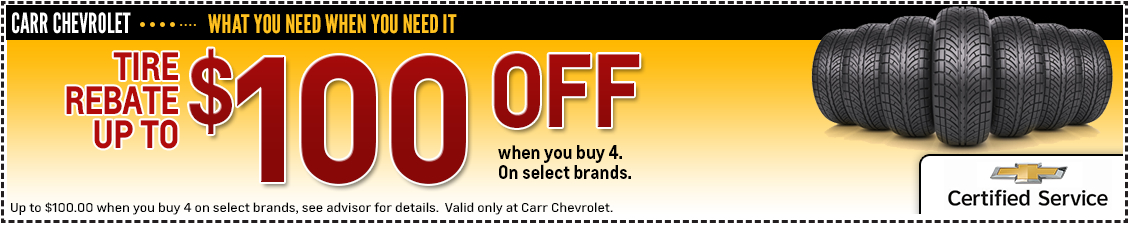 Carr Chevrolet New Tire Rebates Service Special in Beaverton, OR