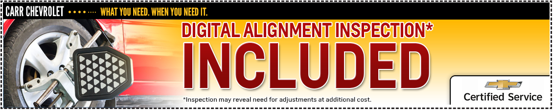 Carr Chevrolet Free Digital Wheel Alignment Check Service Special in Beaverton, OR