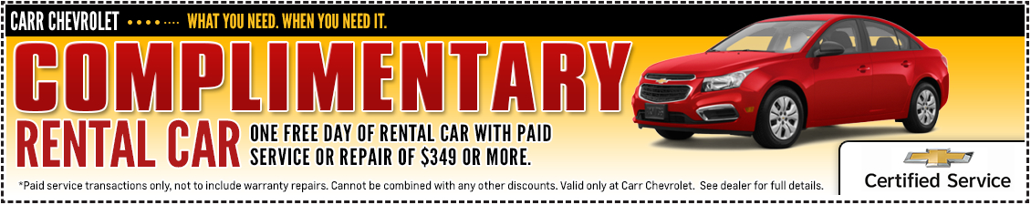 Carr Chevrolet Complimentary Rental Car Service Special in Beaverton, OR