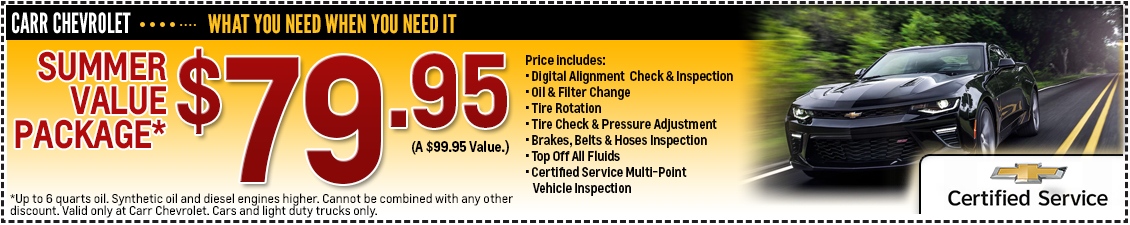 Carr Chevrolet Summer Value Package Service Special in Beaverton, OR