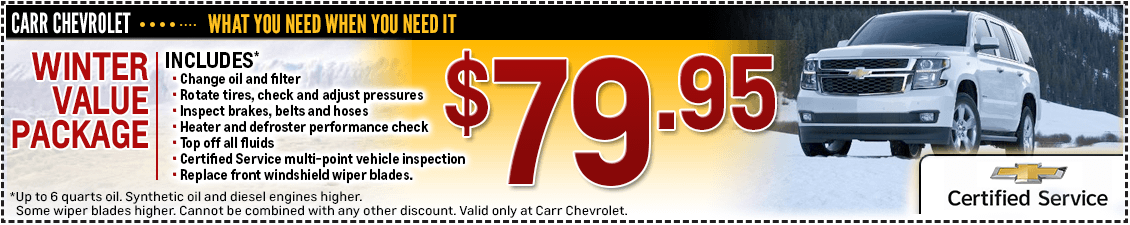 Carr Chevrolet Winter Value Package Service Special in Beaverton, OR