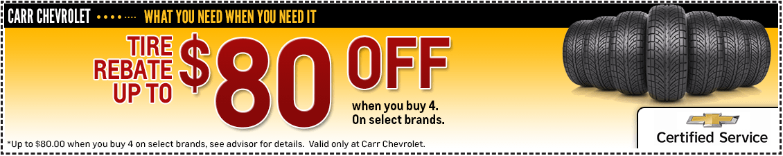 Get special savings on name brand tires from our service department at Carr Chevrolet in Beaverton, OR