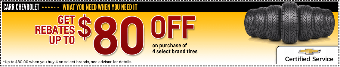Carr Chevrolet Tire Rebate Service Special in Beaverton, OR