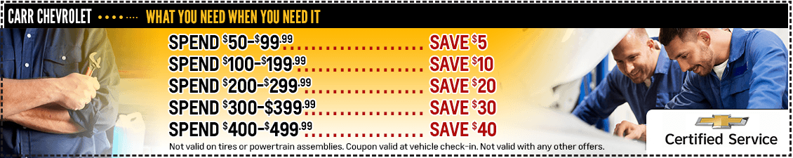 Carr Chevrolet Spend More Save More Special Savings Offer in Beaverton, OR