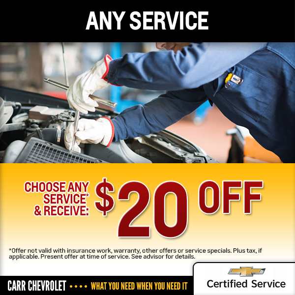 Carr Chevrolet $20 Instant Special Savings Offer in Beaverton, OR