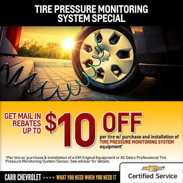 Carr Chevrolet TPMS Sensor Replacement Savings Offer in Beaverton, OR