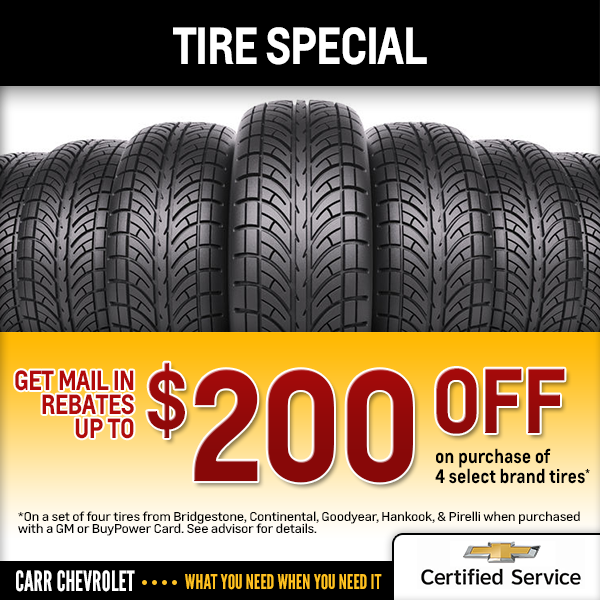 Carr Chevrolet Special Tires Rebate Savings Offer in Beaverton, OR
