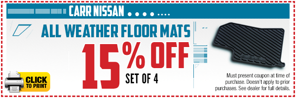 Click to print this Nissan all-weather floor mats parts special in Beaverton, OR
