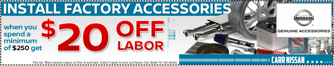 Click to print and save with this Nissan factory accessories installation service special offer in the Portland, OR area
