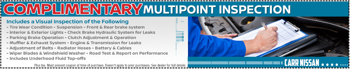 Save with this Nissan complimentary multi-point inspection service special offer in the Portland, OR area