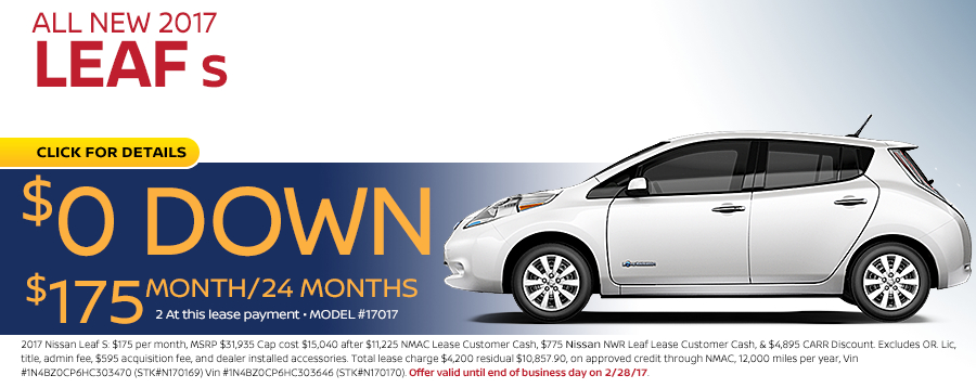 Save in the Portland, OR area on a new 2017 Nissan Leaf S with this Carr Nissan special offer - click to see inventory