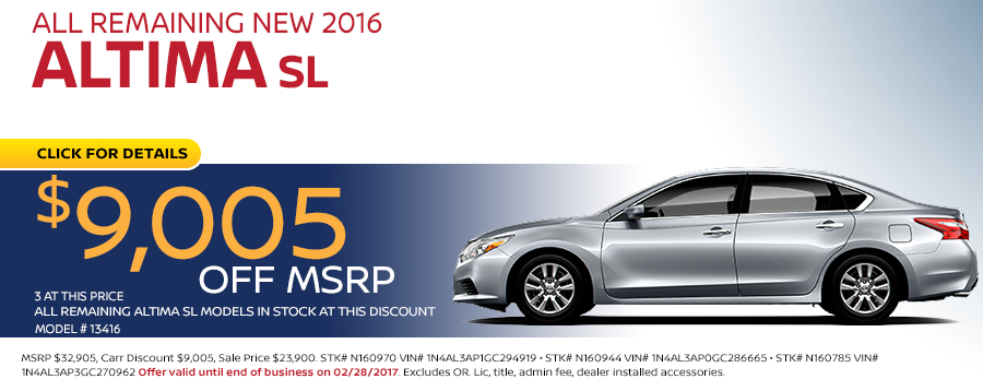 Save in the Portland, OR area on a new 2016 Nissan Altima SL with this Carr Nissan special offer - click to see inventory