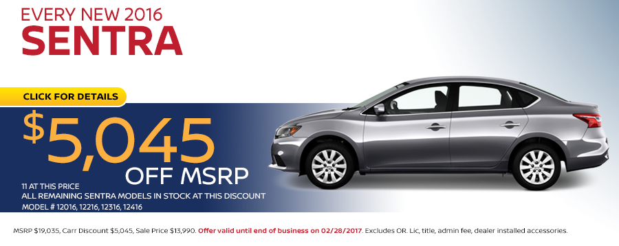 Save in the Portland, OR area on a new 2016 Nissan Sentra with this Carr Nissan special purchase offer - click to see inventory