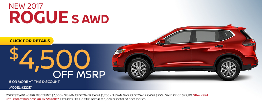 Save in the Portland, OR area on a new 2017 Nissan Rogue S with this Carr Nissan special offer - click to see inventory