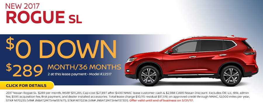 Save in the Portland, OR area on a new 2017 Nissan Rogue SL with this Carr Nissan special offer - click to see inventory
