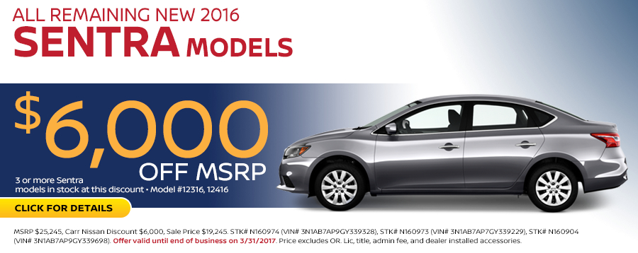 Save in the Portland, OR area on a new 2016 Nissan Sentra with this Carr Nissan special offer - click to see inventory