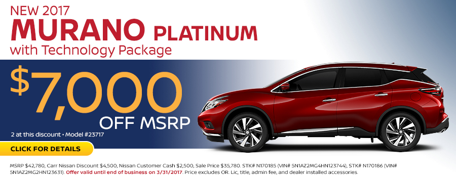 Save in the Portland, OR area on a new 2017 Nissan Murano Platinum with this Carr Nissan special offer - click to see inventory