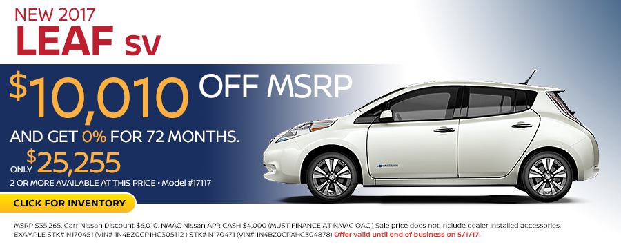 2017 Nissan LEAF SV Package Low Payment Lease Special in Beaverton, OR