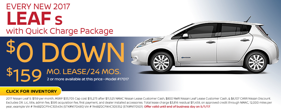 2017 Nissan Leaf S w/ Quick Charge Package Lease Special in Beaverton, OR