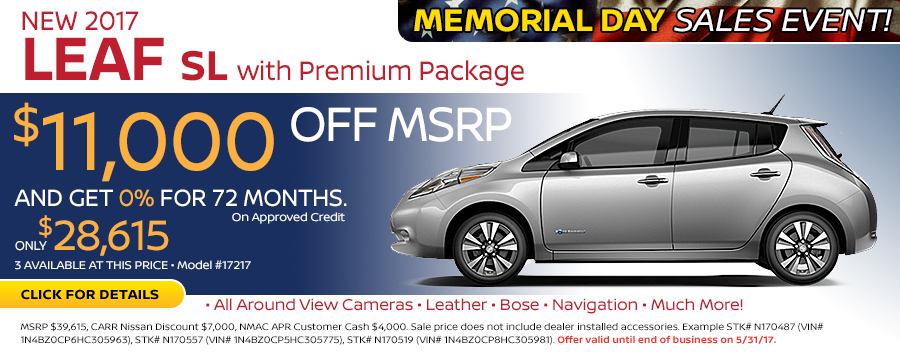 Save in the Portland, OR area on a new 2017 Nissan Leaf SL w/ Premium Package with Quick Charge Package with this Carr Nissan special offer - click to see inventory