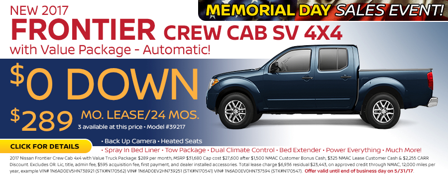 Save in the Portland, OR area on a new 2017 Nissan Frontier Crew Cab SV 4X4 w/ Value Package with this Carr Nissan special offer - click to see inventory