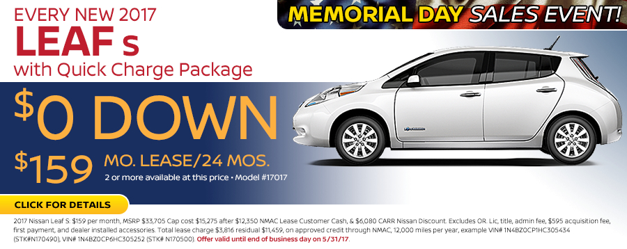 Save in the Portland, OR area on a new 2017 Nissan Leaf S with Quick Charge Package with this Carr Nissan special offer - click to see inventory