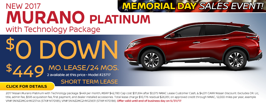 Save in the Portland, OR area on a new 2017 Nissan Murano Platinum w/ Technology Package with this Carr Nissan special offer - click to see inventory