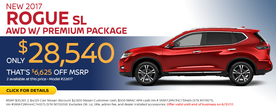2017 Nissan Rogue SL Low Payment Lease Special in Beaverton, OR