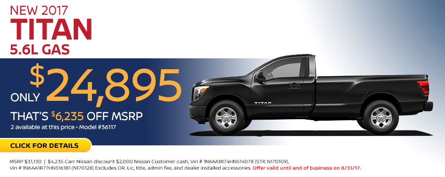 2017 Nissan Titan S 5.6L Lease Special in Beaverton, OR