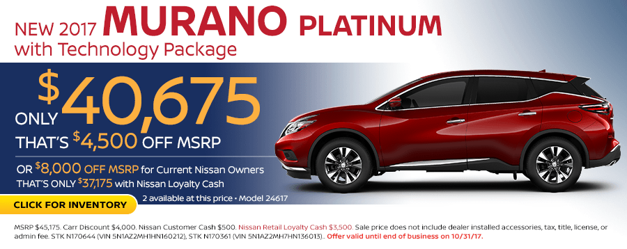 2017 Murano Platinum w/Technology Pkg lease special in Beaverton, OR