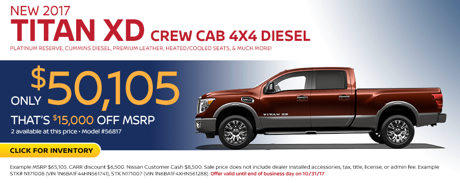 2017 Titan XD Crew Cab 4X4 Diesel lease special in Beaverton, OR