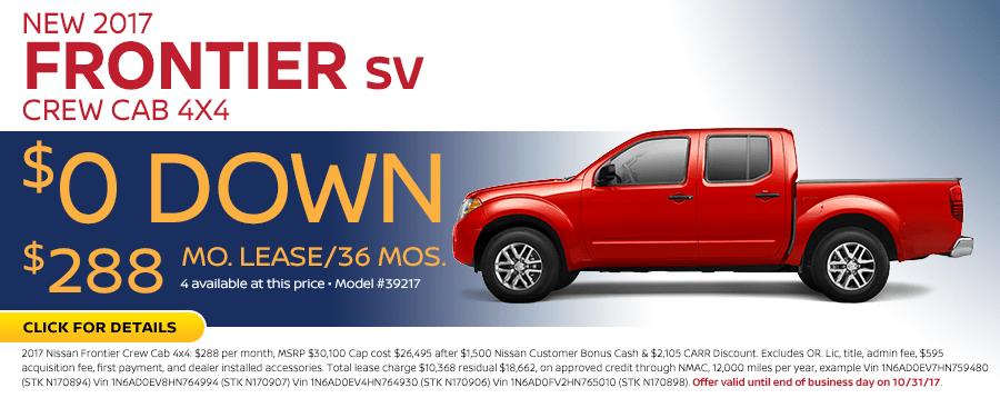 2017 Frontier Crew Cab SV 4X4 low payment lease special in Beaverton, OR